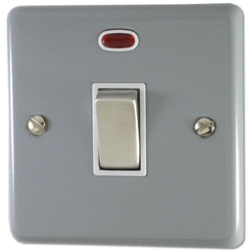 G&H CLG226 Standard Plate Light Grey 1 Gang 20 Amp Double Pole Switch & Neon